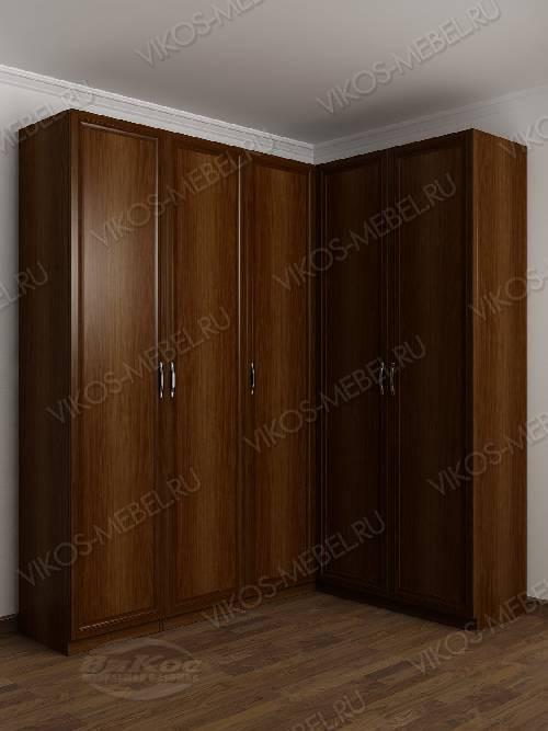 Большой шкаф угловой с распашными дверями для спальни цвета яблоня