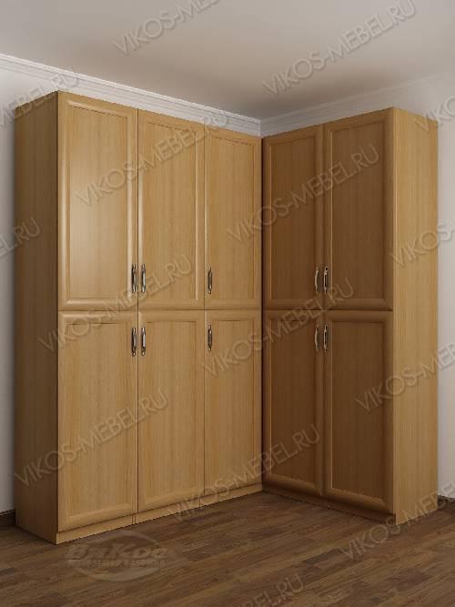 Большой шкаф угловой с распашными дверями для спальни цвета бук