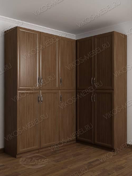 Большой шкаф угловой с распашными дверями для спальни цвета шимо темный