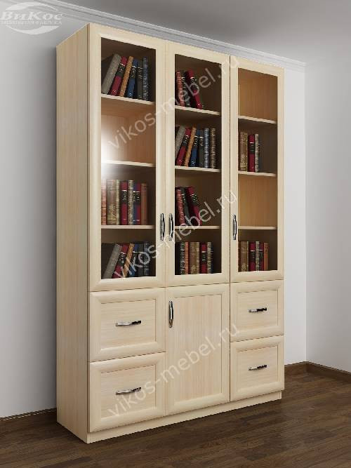 Широкий книжный шкаф со стеклянными дверцами с ящиками цвета молочный беленый дуб