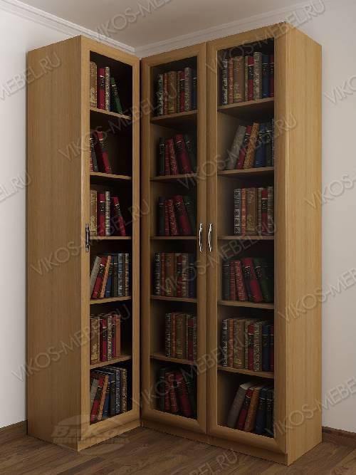 3-дверный угловой угловой шкаф для книг цвета бук