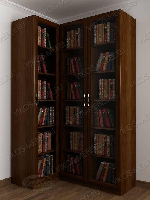 3-дверный угловой угловой шкаф для книг цвета яблоня