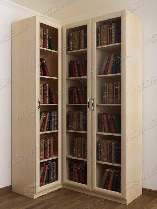 3-дверный угловой угловой шкаф для книг цвета молочный беленый дуб