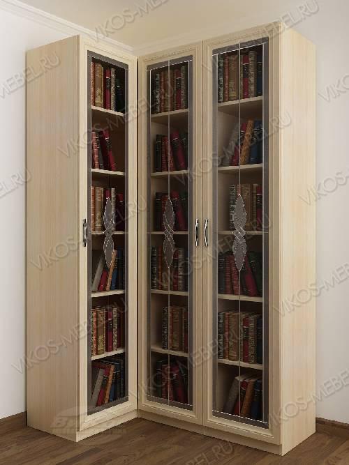 Витражный 3-дверный угловой угловой шкаф для книг цвета молочный беленый дуб