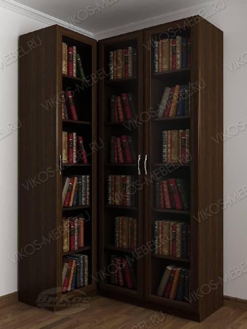 3-дверный угловой угловой шкаф для книг цвета венге