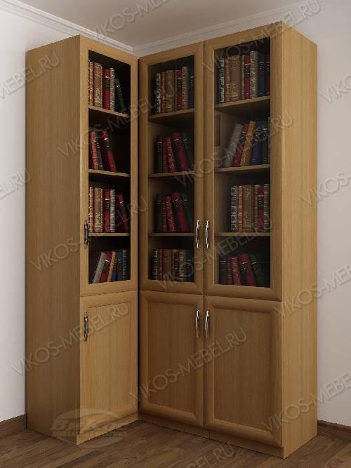 Трехстворчатый угловой шкаф угловой для книг цвета бук