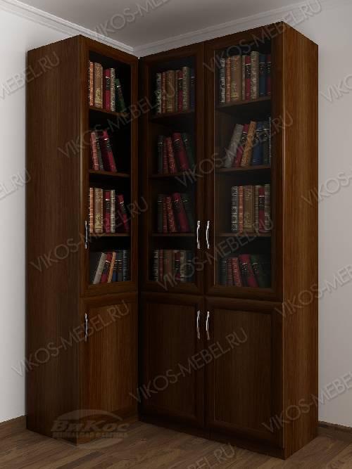 Трехстворчатый угловой шкаф угловой для книг цвета яблоня