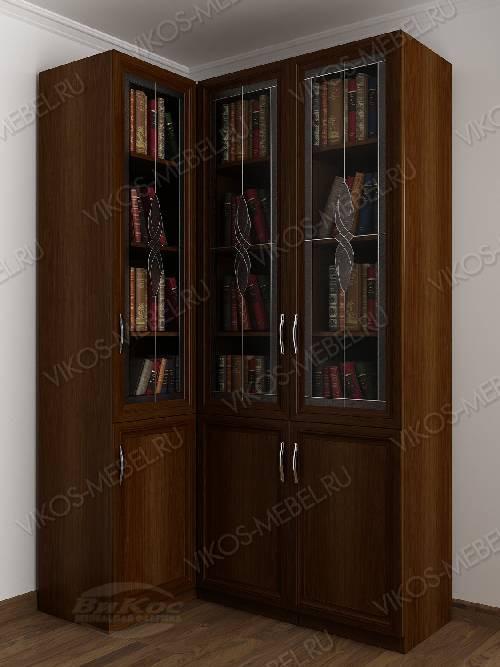 Витражный трехстворчатый угловой шкаф угловой для книг цвета яблоня