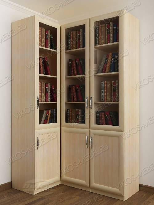 Трехстворчатый угловой шкаф угловой для книг цвета молочный беленый дуб