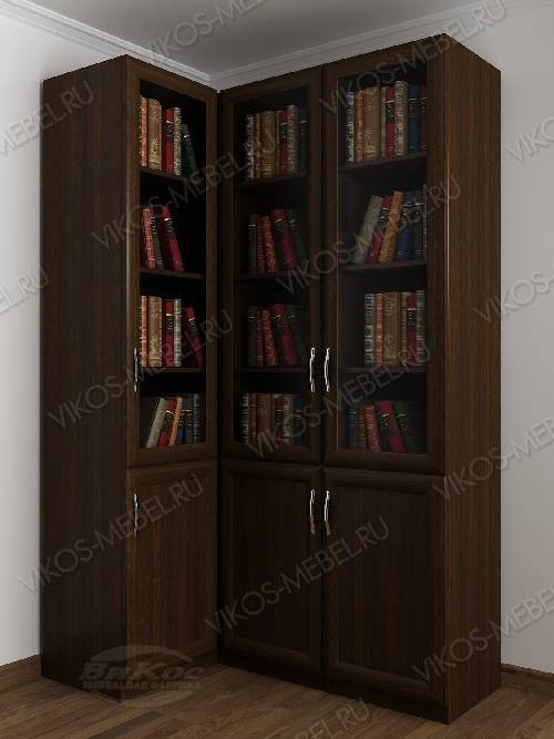 Трехстворчатый угловой шкаф угловой для книг цвета венге