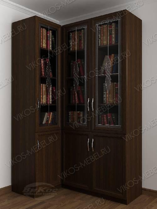 Трехстворчатый угловой шкаф угловой с витражом для книг цвета венге