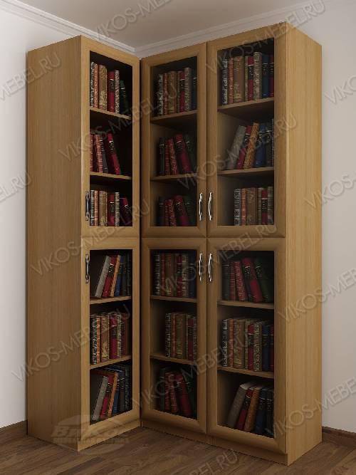Трехдверный угловой угловой шкаф для книг цвета бук