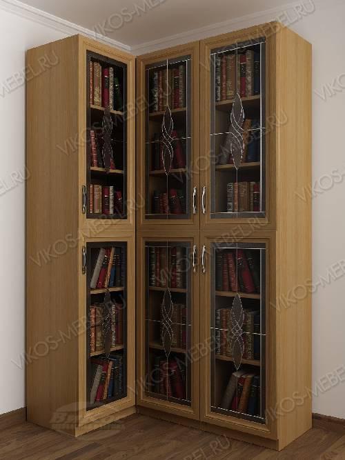Витражный трехдверный угловой угловой шкаф для книг цвета бук