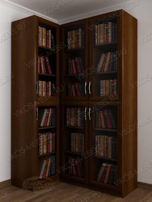 Трехдверный угловой угловой шкаф для книг цвета яблоня