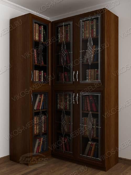Трехдверный угловой угловой шкаф с витражом для книг цвета яблоня