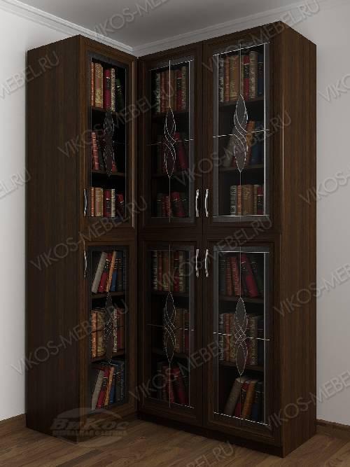 Трехдверный угловой угловой шкаф c витражным стеклом для книг цвета венге