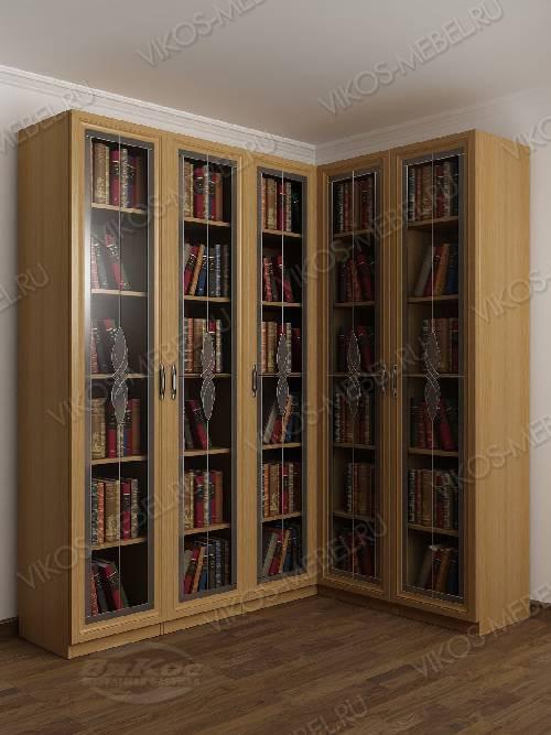 Угловой шкаф угловой с витражом для книг цвета бук