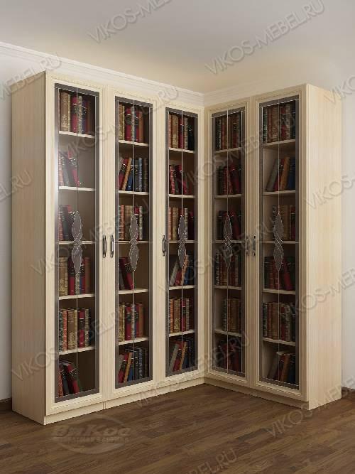 Угловой витражный шкаф угловой для книг цвета молочный беленый дуб