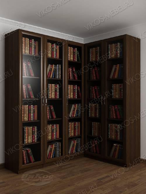 Угловой шкаф угловой для книг цвета венге