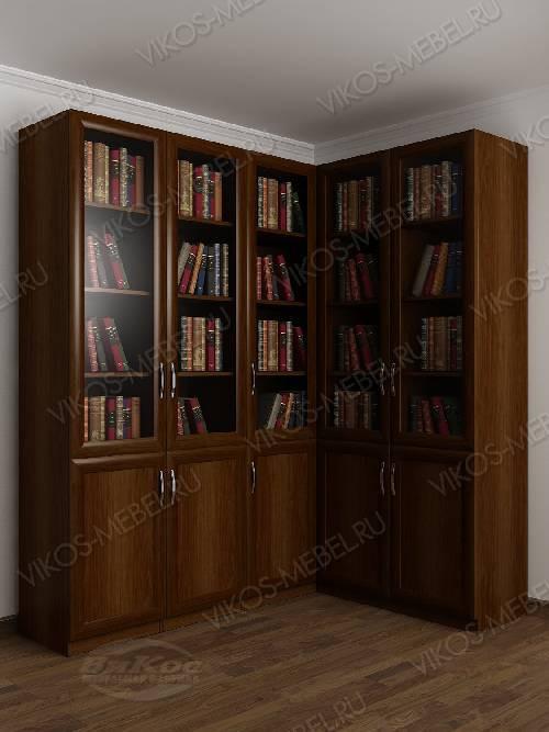 Угловой угловой шкаф для книг цвета яблоня