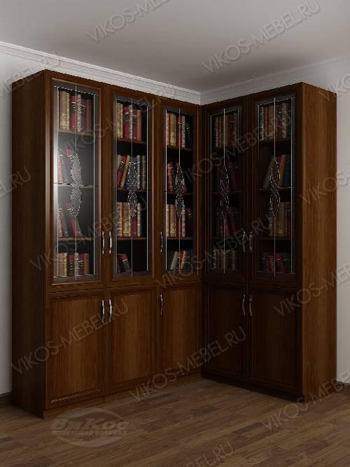 Угловой витражный угловой шкаф для книг цвета яблоня