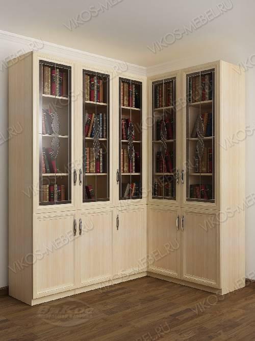 Угловой угловой шкаф с витражом для книг цвета молочный беленый дуб