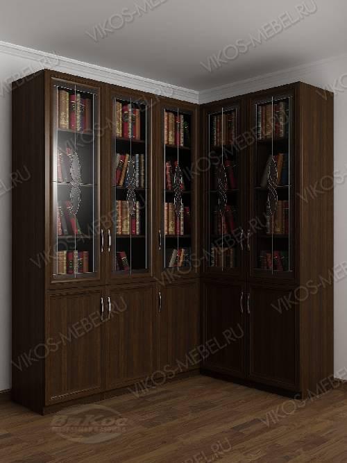 Угловой угловой шкаф с витражом для книг цвета венге