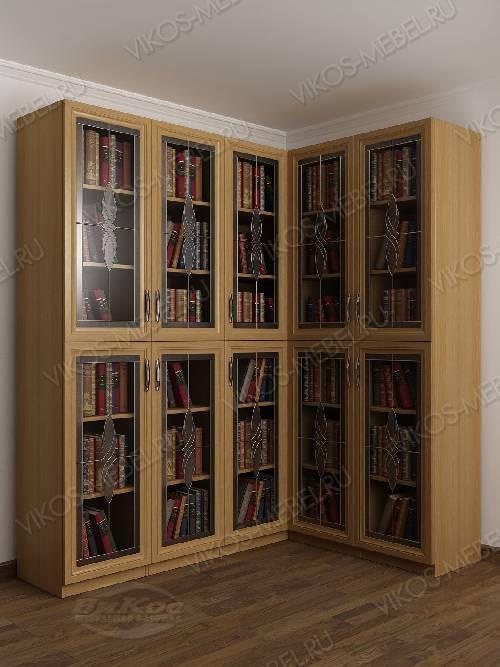 Угловой витражный шкаф угловой для книг цвета бук