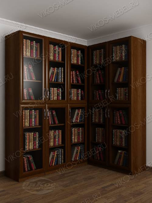 Угловой шкаф угловой для книг цвета яблоня