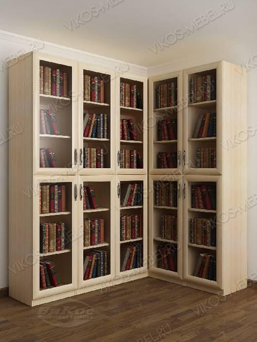 Угловой шкаф угловой для книг цвета молочный беленый дуб