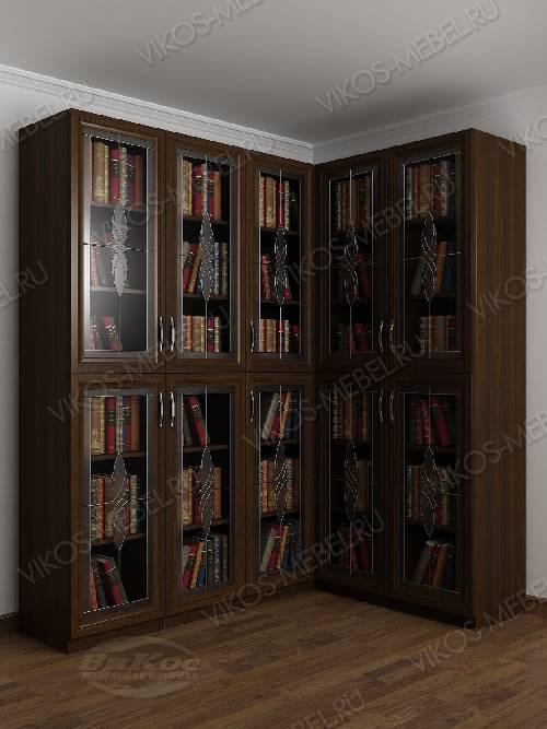 Угловой шкаф угловой c витражным стеклом для книг цвета венге