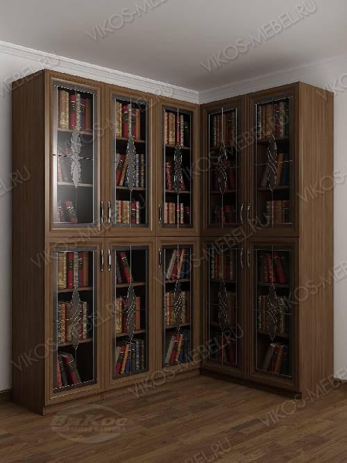 Угловой витражный шкаф угловой для книг цвета шимо темный