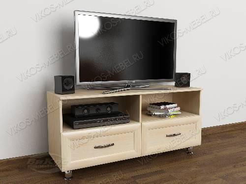 Низкая телевизионная тумба с ящиками цвета молочный беленый дуб