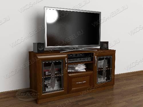 Низкая телевизионная тумба с выдвижными ящиками цвета яблоня