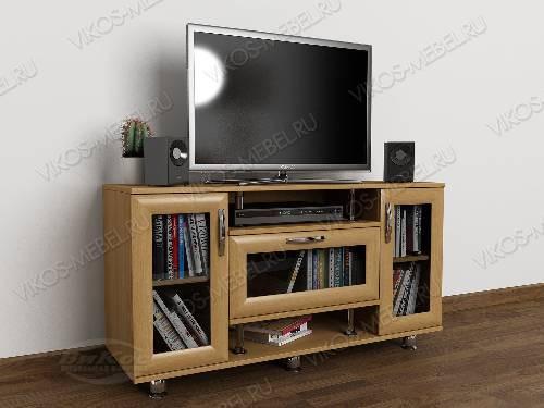 Невысокая тумба под телевизор с полками цвета бук