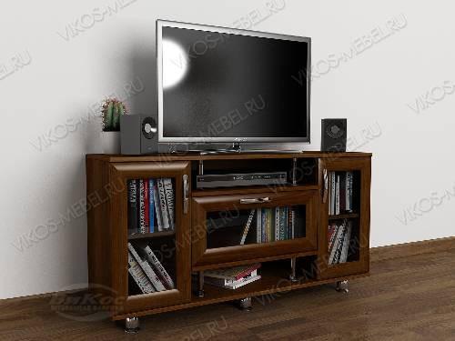 Невысокая тумба под телевизор с полками цвета яблоня