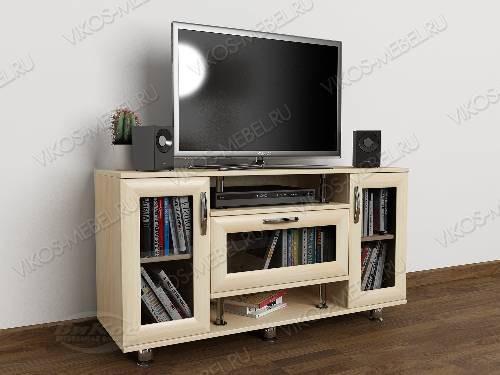 Невысокая тумба под телевизор с полками цвета молочный беленый дуб
