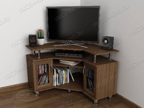 Невысокая угловая телевизионная тумба классика цвета шимо темный