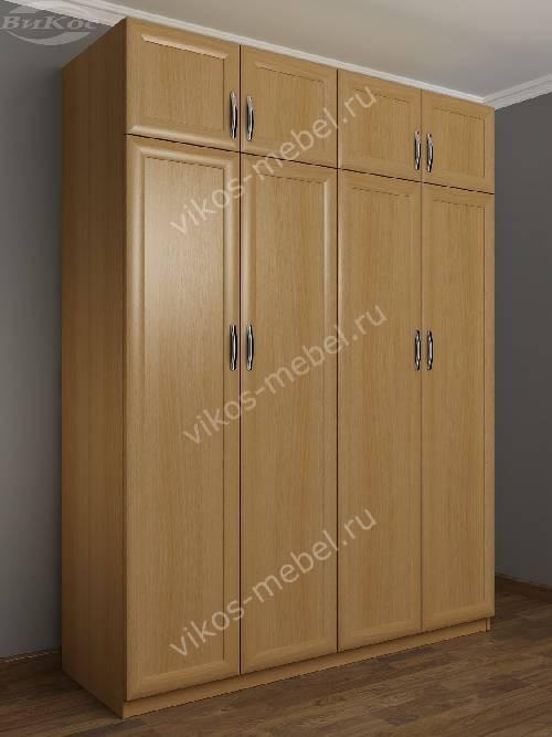 Четырехстворчатый распашной шкаф для спальни с антресолью цвета бук