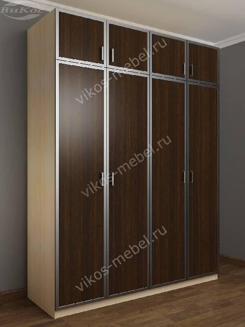 Четырехстворчатый распашной шкаф для спальни с антресолью цвета беленый дуб - венге