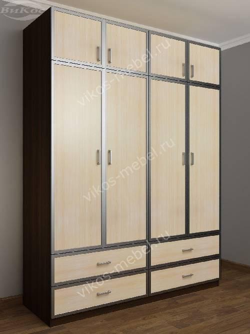 Четырехдверный шкаф для спальни с выдвижными ящиками цвета венге - молочный дуб