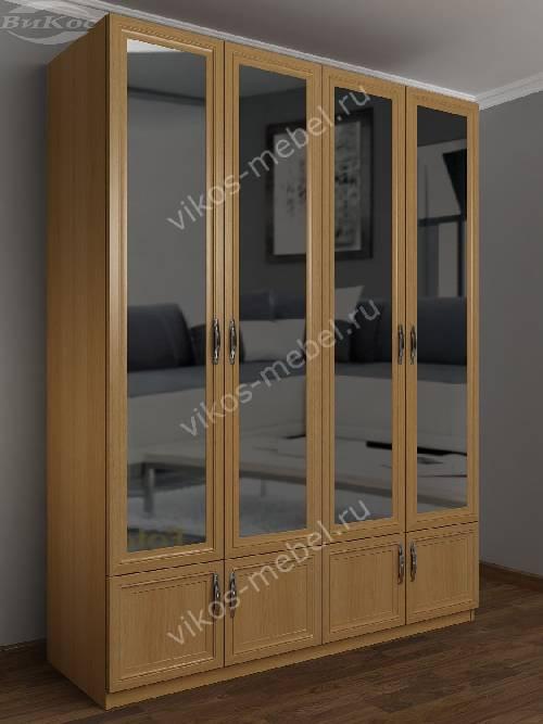 Широкий шкаф для одежды в прихожую с зеркальной дверью с антресолью цвета бук