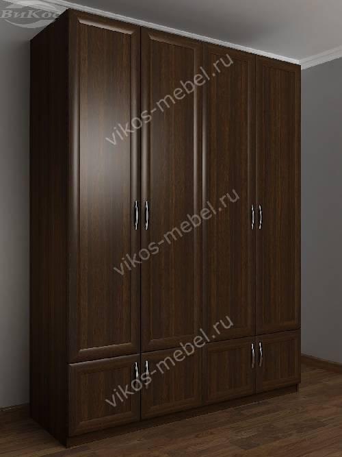 Широкий шкаф для одежды в прихожую с антресолью цвета венге