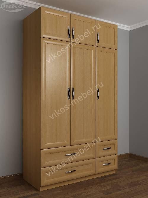 Трехдверный шкаф с распашными дверями для спальни с ящиками для мелочей цвета бук