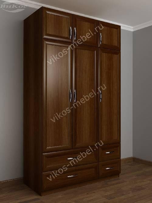 Трехдверный шкаф с распашными дверями для спальни с ящиками для мелочей цвета яблоня