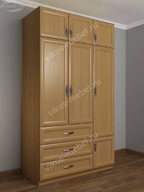 Широкий платяной шкаф с ящиками в спальню цвета бук