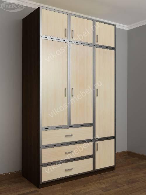 Широкий платяной шкаф с ящиками в спальню цвета венге - молочный дуб
