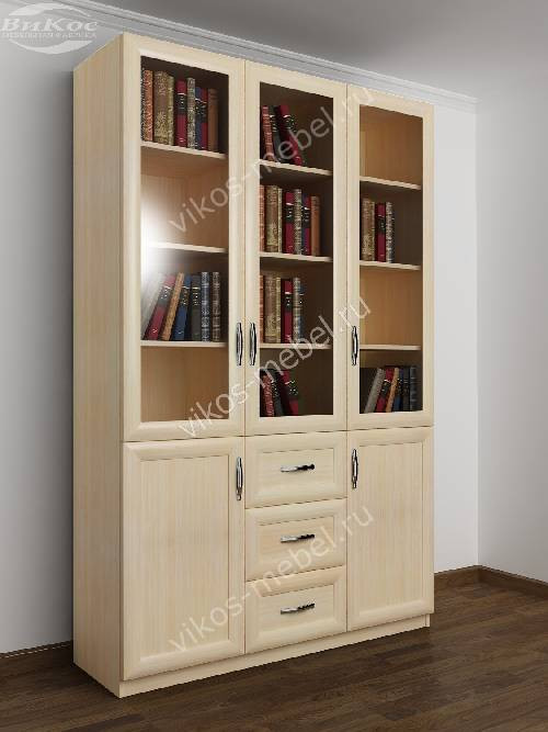 Большой книжный шкаф с выдвижными ящиками цвета молочный беленый дуб