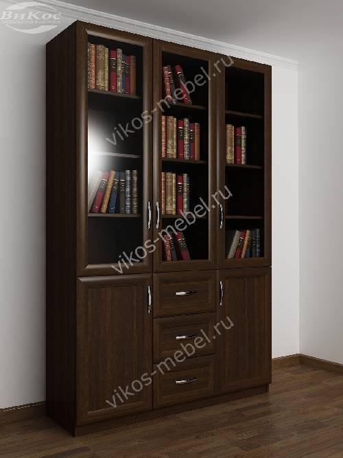 Большой книжный шкаф с выдвижными ящиками цвета венге