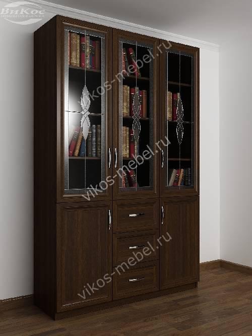 Большой книжный шкаф c витражным стеклом с выдвижными ящиками цвета венге